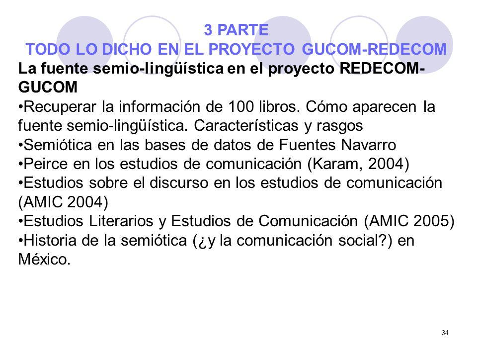 34 3 PARTE TODO LO DICHO EN EL PROYECTO GUCOM-REDECOM La fuente semio-lingüística en el proyecto REDECOM- GUCOM Recuperar la información de 100 libros