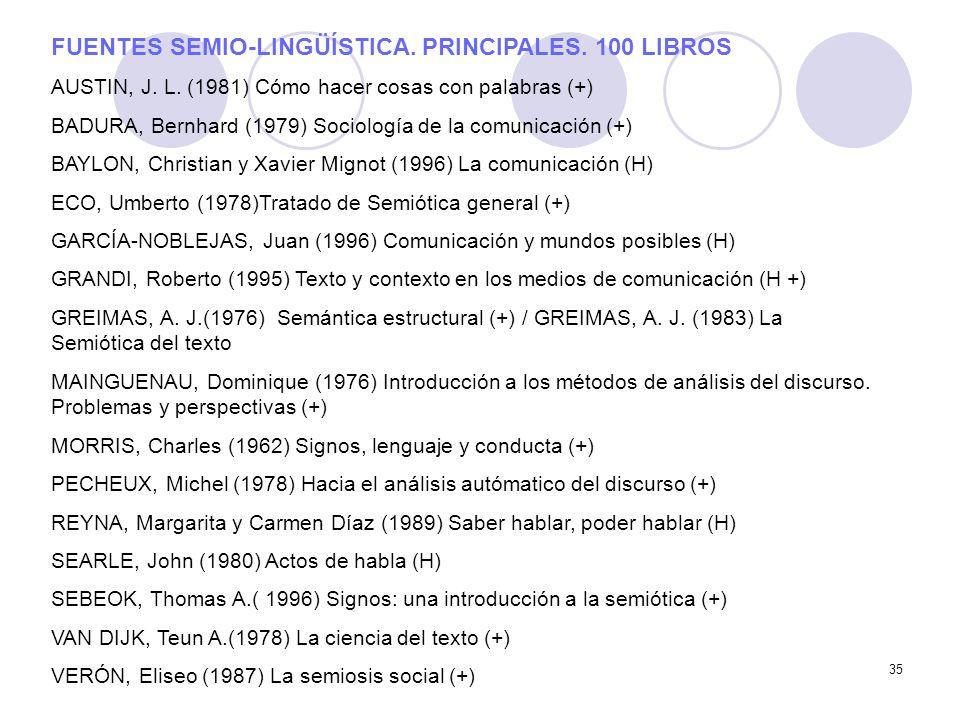 35 FUENTES SEMIO-LINGÜÍSTICA. PRINCIPALES. 100 LIBROS AUSTIN, J. L. (1981) Cómo hacer cosas con palabras (+) BADURA, Bernhard (1979) Sociología de la