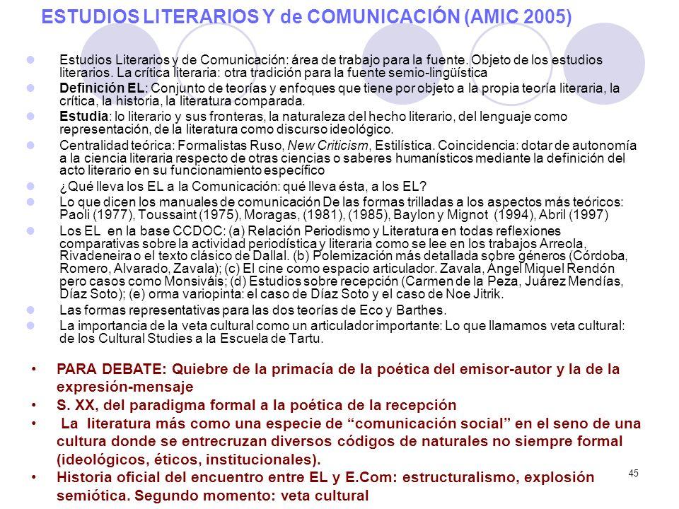 45 ESTUDIOS LITERARIOS Y de COMUNICACIÓN (AMIC 2005) Estudios Literarios y de Comunicación: área de trabajo para la fuente. Objeto de los estudios lit
