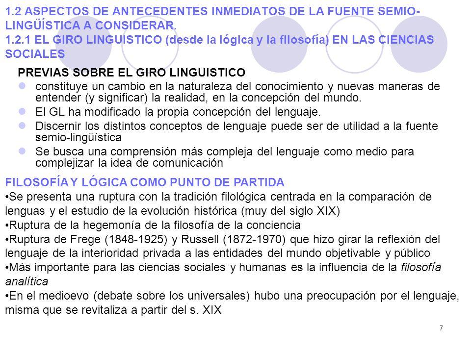 7 1.2 ASPECTOS DE ANTECEDENTES INMEDIATOS DE LA FUENTE SEMIO- LINGÜÍSTICA A CONSIDERAR. 1.2.1 EL GIRO LINGUISTICO (desde la lógica y la filosofía) EN