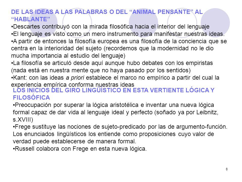 8 DE LAS IDEAS A LAS PALABRAS O DEL ANIMAL PENSANTE AL HABLANTE Descartes contribuyó con la mirada filosófica hacia el interior del lenguaje El lengua