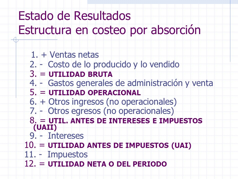Estado de Resultados Estructura en costeo por absorción 1. + Ventas netas 2. - Costo de lo producido y lo vendido 3. = UTILIDAD BRUTA 4. - Gastos gene
