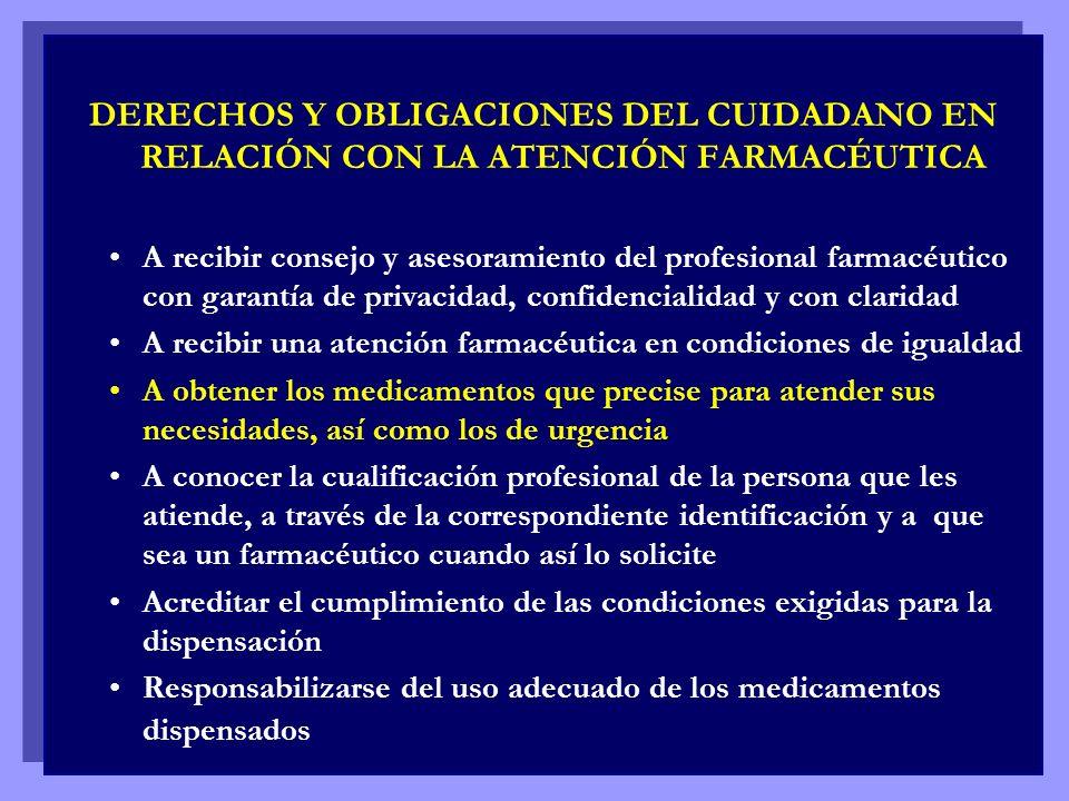 DERECHOS Y OBLIGACIONES DEL CUIDADANO EN RELACIÓN CON LA ATENCIÓN FARMACÉUTICA A recibir consejo y asesoramiento del profesional farmacéutico con gara