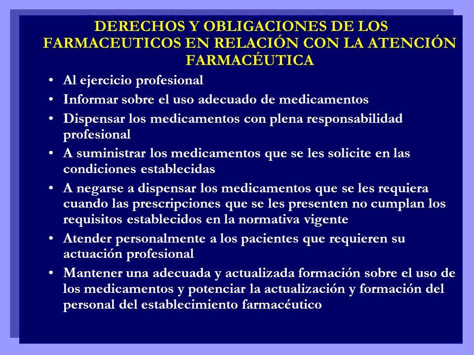 DERECHOS Y OBLIGACIONES DE LOS FARMACEUTICOS EN RELACIÓN CON LA ATENCIÓN FARMACÉUTICA Al ejercicio profesional Informar sobre el uso adecuado de medic