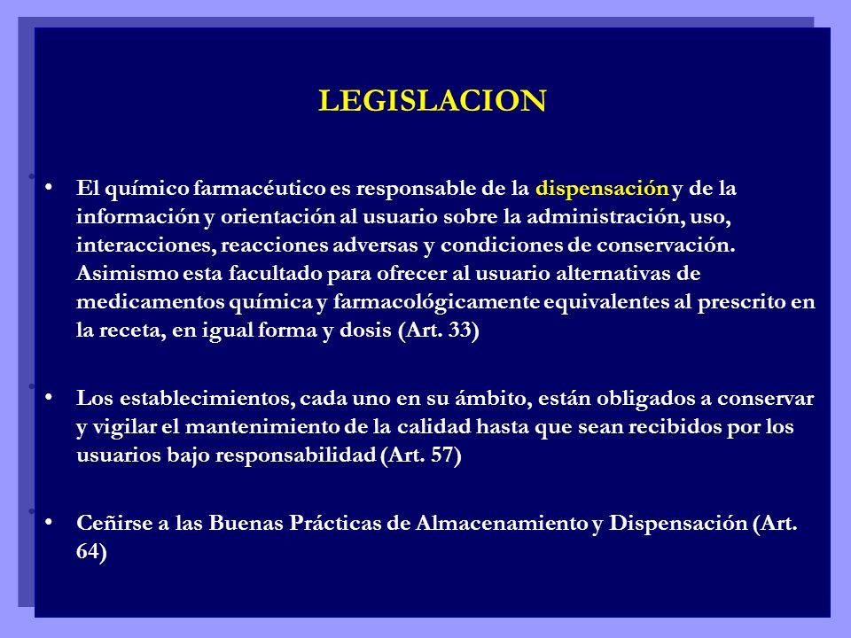 LEGISLACION El químico farmacéutico es responsable de la dispensación y de la información y orientación al usuario sobre la administración, uso, inter
