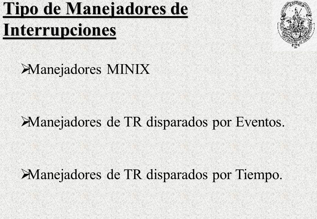 Tipo de Manejadores de Interrupciones Manejadores MINIX Manejadores de TR disparados por Eventos.