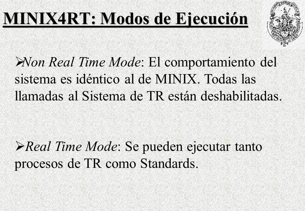 MINIX4RT: Modos de Ejecución Non Real Time Mode: El comportamiento del sistema es idéntico al de MINIX.