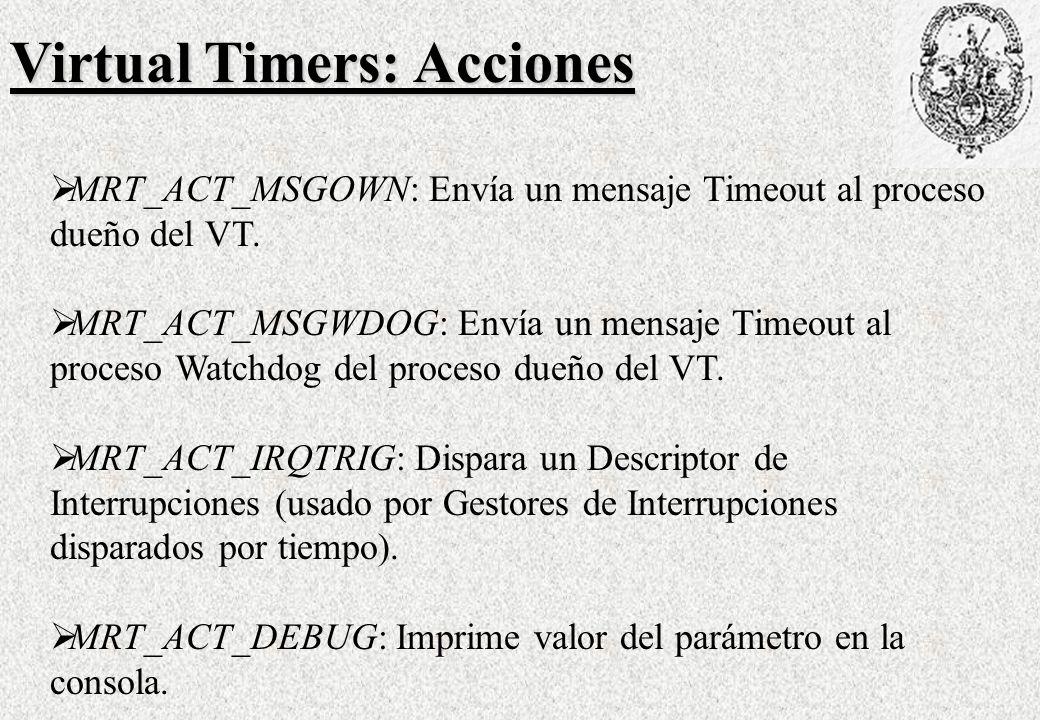 Virtual Timers: Acciones MRT_ACT_MSGOWN: Envía un mensaje Timeout al proceso dueño del VT.