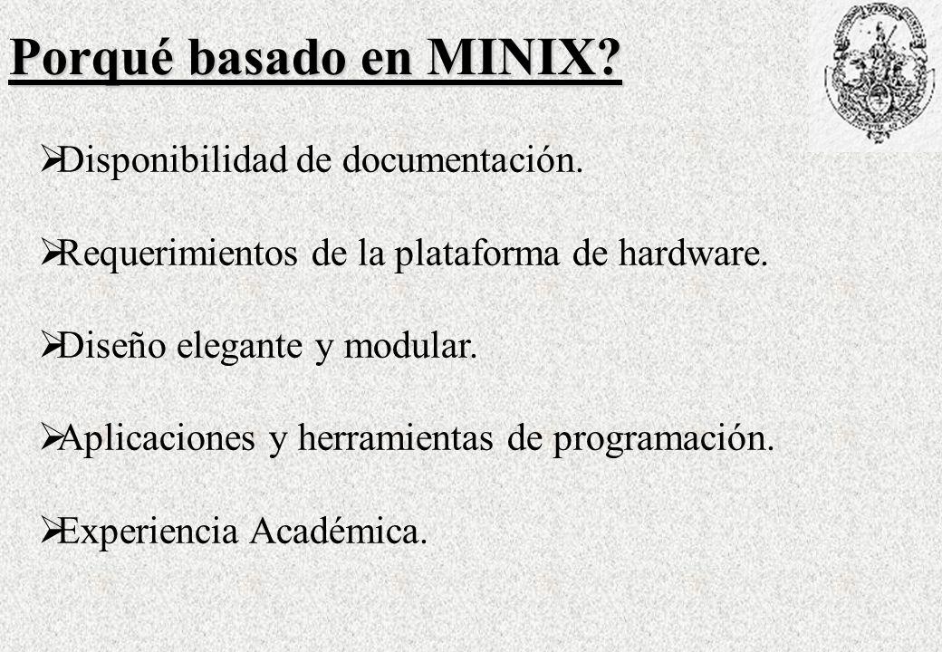 Virtualización del Timer de MINIX 1 /MRT_sv.tickrate 1/HZ Time MINIX4RT RT-ticks MINIX ticks MRT_sv.harmonic = 2