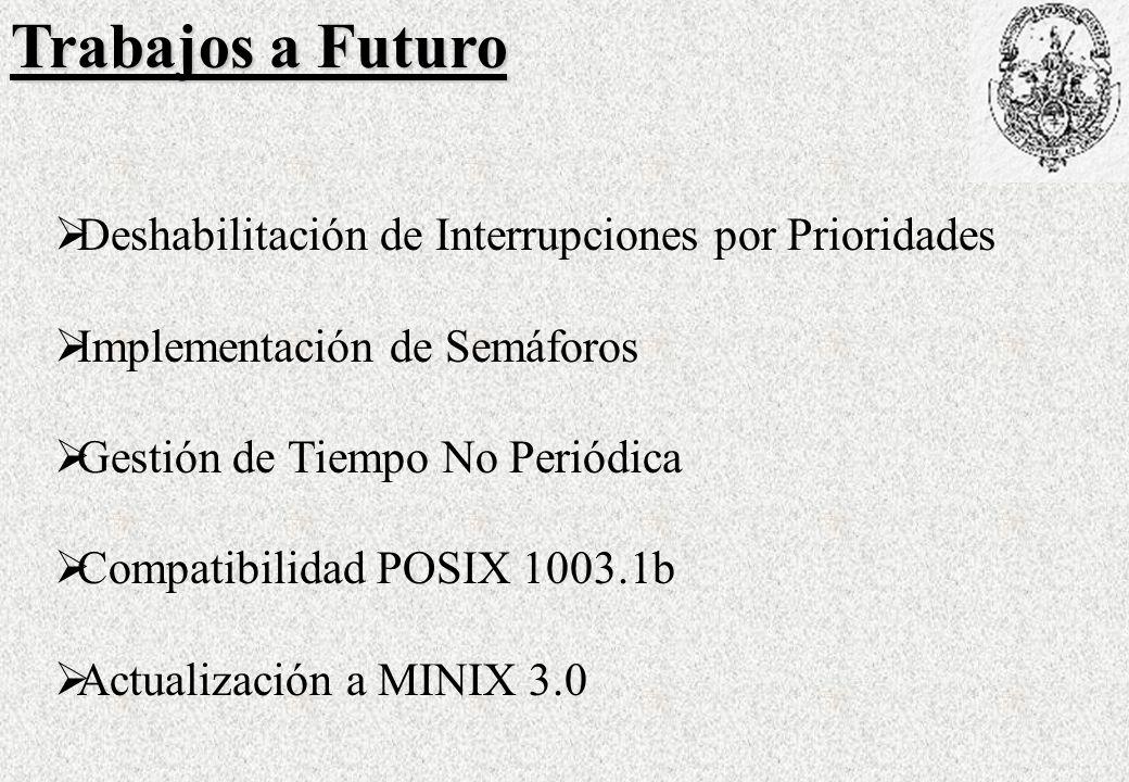 Trabajos a Futuro Deshabilitación de Interrupciones por Prioridades Implementación de Semáforos Gestión de Tiempo No Periódica Compatibilidad POSIX 1003.1b Actualización a MINIX 3.0
