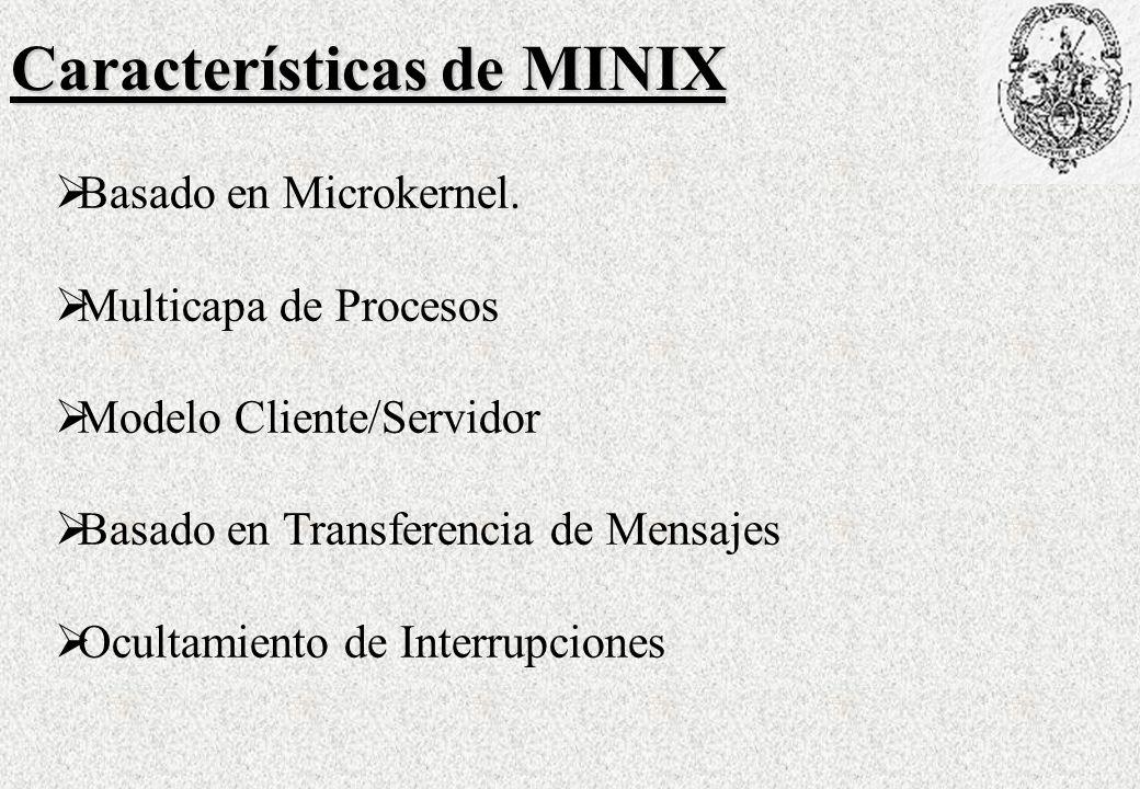 Características de MINIX Basado en Microkernel.