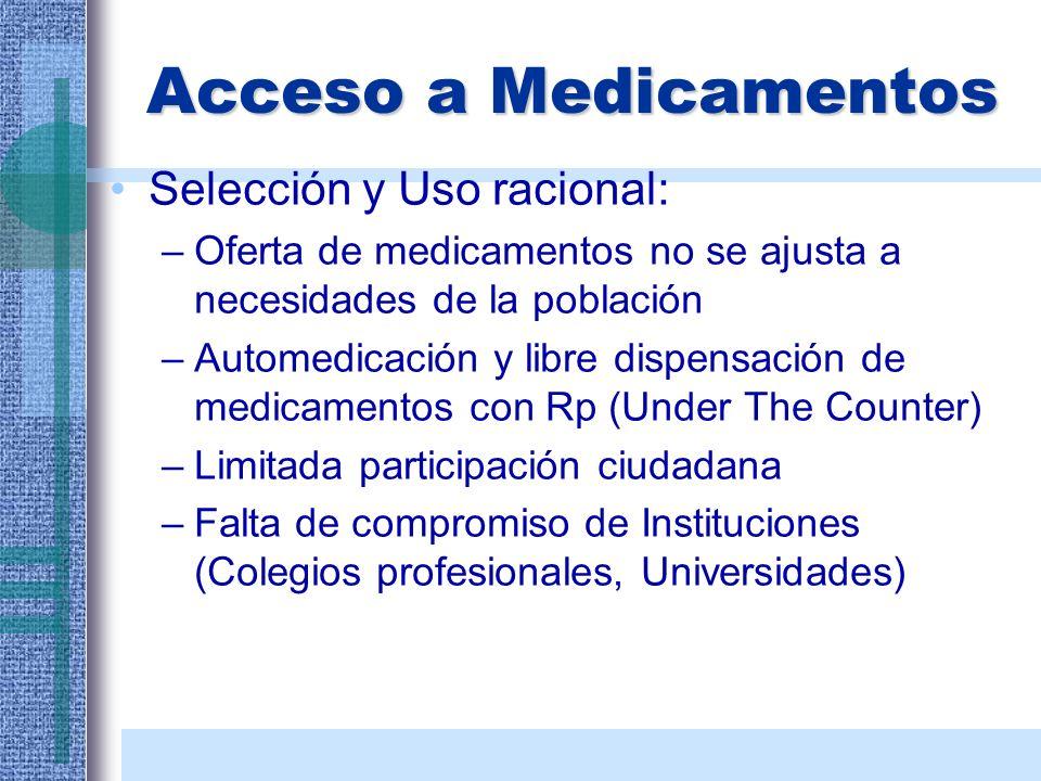 Acceso a Medicamentos Selección y Uso racional: –Oferta de medicamentos no se ajusta a necesidades de la población –Automedicación y libre dispensació
