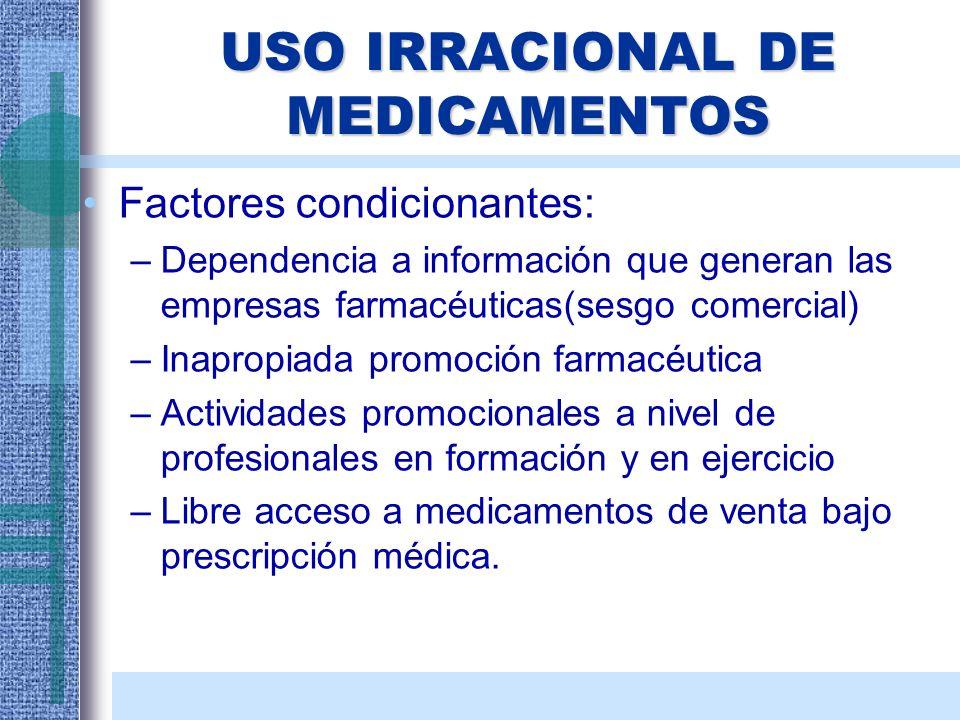 USO IRRACIONAL DE MEDICAMENTOS Factores condicionantes: –Dependencia a información que generan las empresas farmacéuticas(sesgo comercial) –Inapropiad