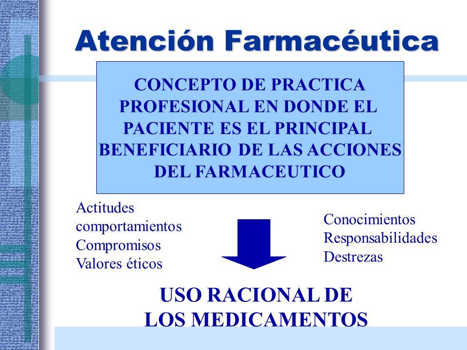 Atención Farmacéutica CONCEPTO DE PRACTICA PROFESIONAL EN DONDE EL PACIENTE ES EL PRINCIPAL BENEFICIARIO DE LAS ACCIONES DEL FARMACEUTICO USO RACIONAL