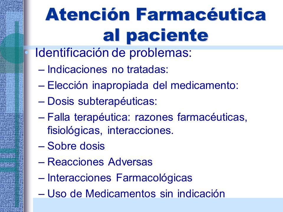 Atención Farmacéutica al paciente Identificación de problemas: –Indicaciones no tratadas: –Elección inapropiada del medicamento: –Dosis subterapéutica