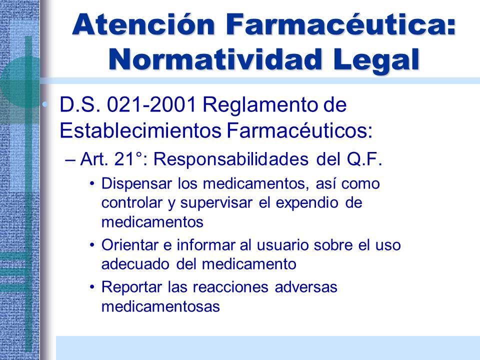 Atención Farmacéutica: Normatividad Legal D.S. 021-2001 Reglamento de Establecimientos Farmacéuticos: –Art. 21°: Responsabilidades del Q.F. Dispensar