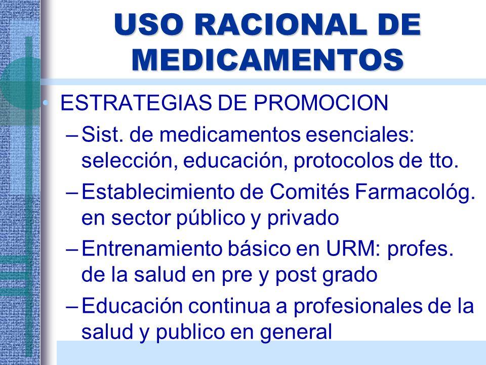 USO RACIONAL DE MEDICAMENTOS ESTRATEGIAS DE PROMOCION –Sist. de medicamentos esenciales: selección, educación, protocolos de tto. –Establecimiento de