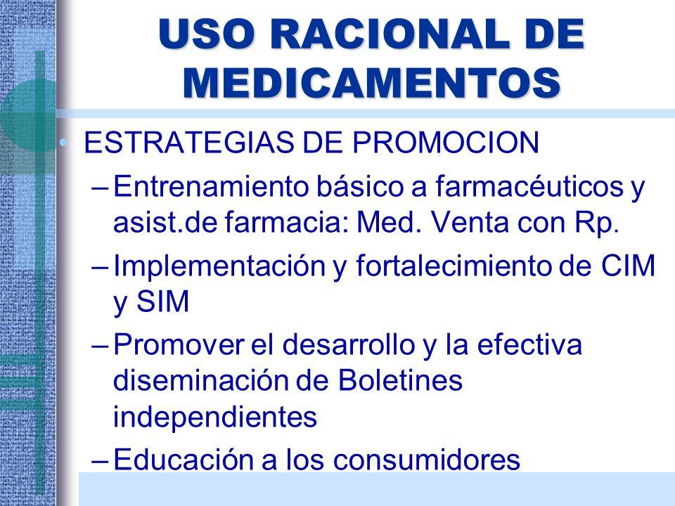 USO RACIONAL DE MEDICAMENTOS ESTRATEGIAS DE PROMOCION –Entrenamiento básico a farmacéuticos y asist.de farmacia: Med. Venta con Rp. –Implementación y