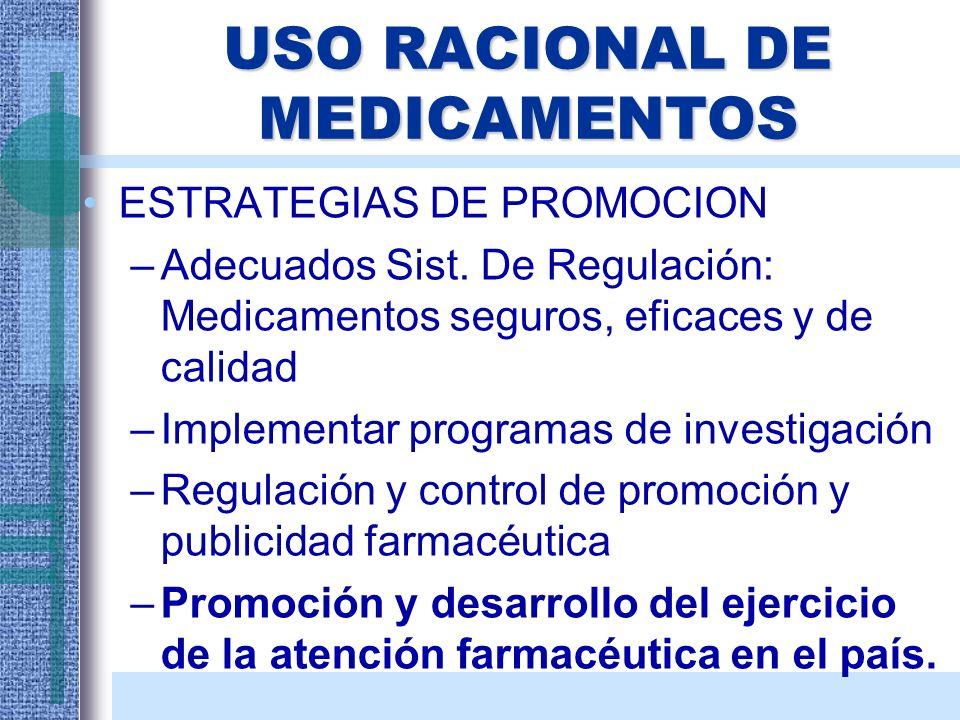 USO RACIONAL DE MEDICAMENTOS ESTRATEGIAS DE PROMOCION –Adecuados Sist. De Regulación: Medicamentos seguros, eficaces y de calidad –Implementar program