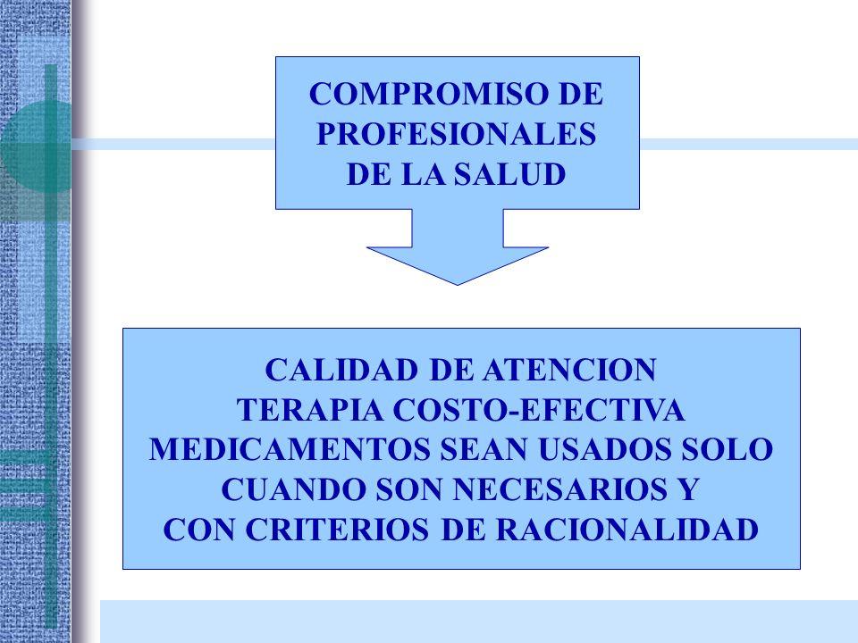 COMPROMISO DE PROFESIONALES DE LA SALUD CALIDAD DE ATENCION TERAPIA COSTO-EFECTIVA MEDICAMENTOS SEAN USADOS SOLO CUANDO SON NECESARIOS Y CON CRITERIOS