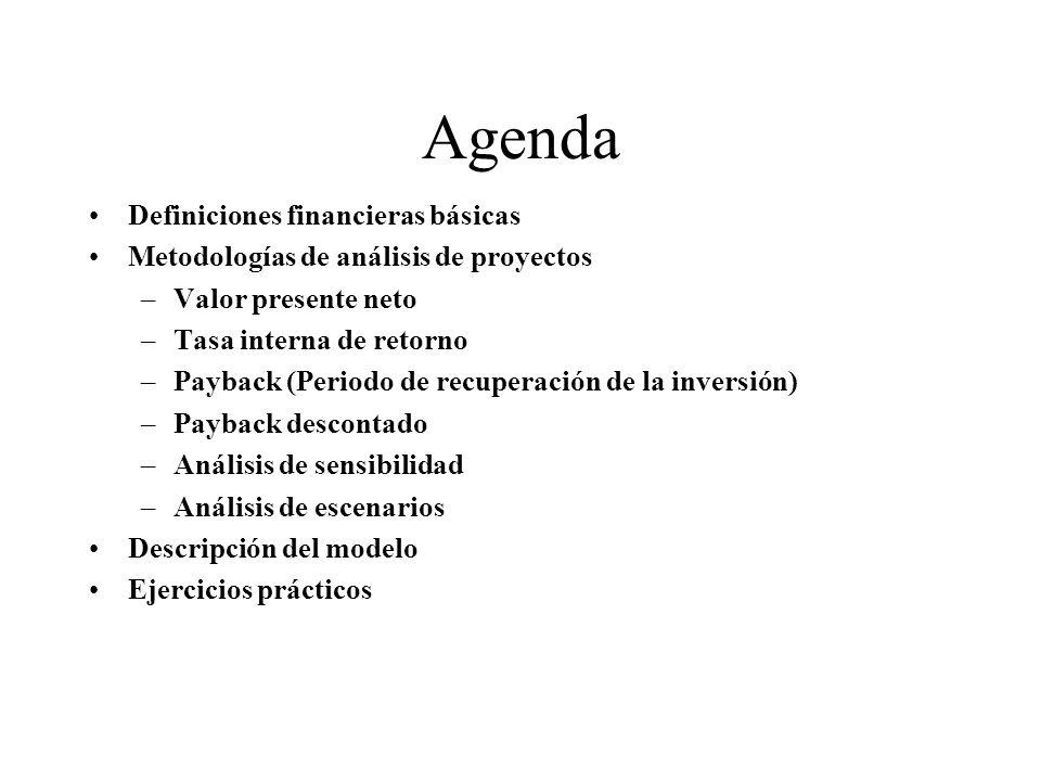 Agenda Definiciones financieras básicas Metodologías de análisis de proyectos –Valor presente neto –Tasa interna de retorno –Payback (Periodo de recup