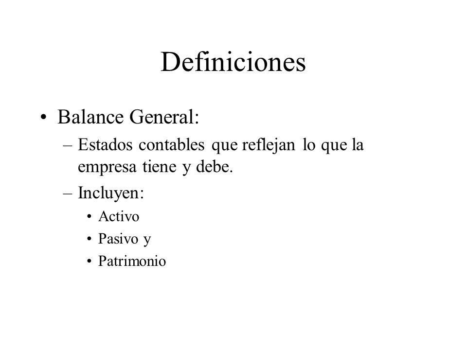 Definiciones Balance General: –Estados contables que reflejan lo que la empresa tiene y debe. –Incluyen: Activo Pasivo y Patrimonio