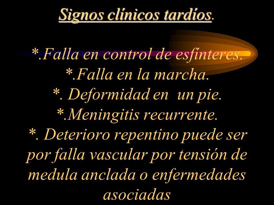 Signos clínicos tardíos Signos clínicos tardíos. *.Falla en control de esfínteres. *.Falla en la marcha. *. Deformidad en un pie. *.Meningitis recurre