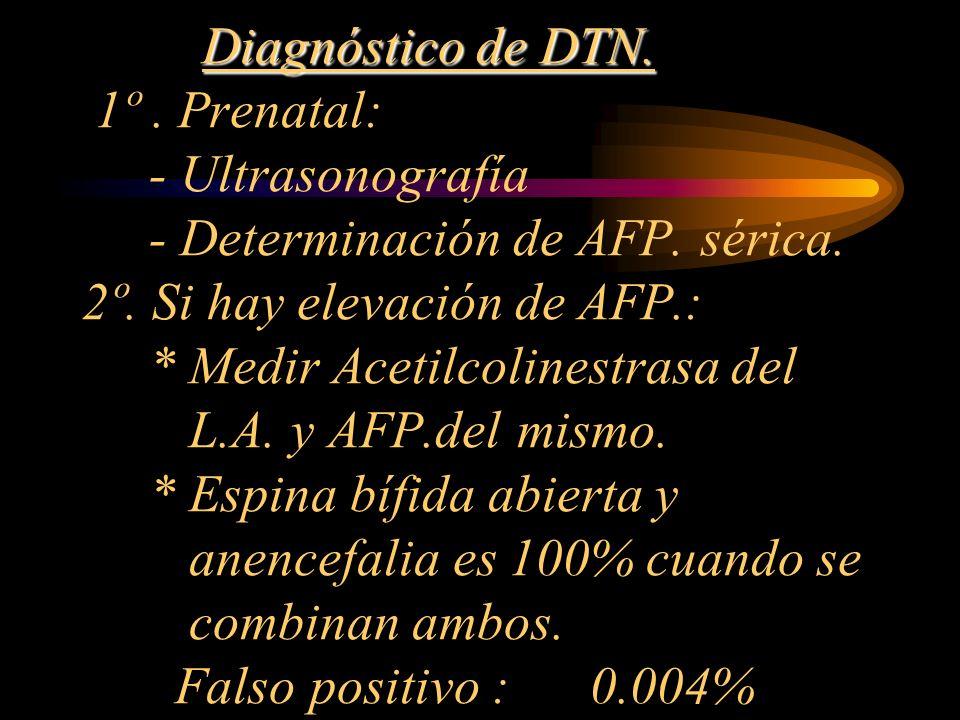 Diagnóstico de DTN. Diagnóstico de DTN. 1º. Prenatal: - Ultrasonografía - Determinación de AFP. sérica. 2º. Si hay elevación de AFP.: * Medir Acetilco