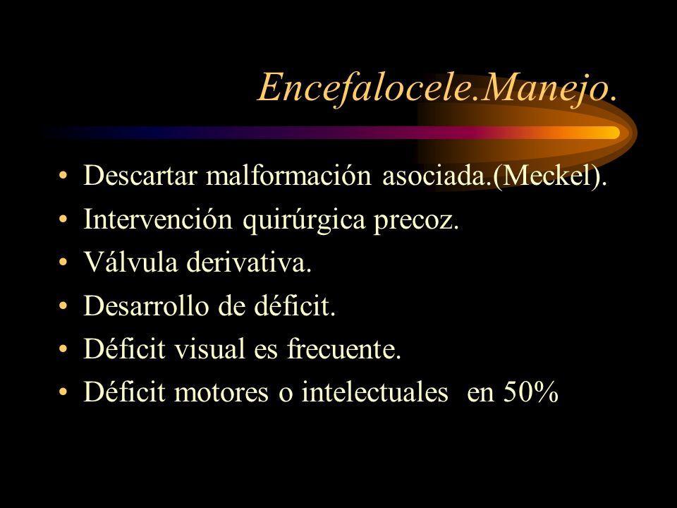 Encefalocele.Manejo. Descartar malformación asociada.(Meckel). Intervención quirúrgica precoz. Válvula derivativa. Desarrollo de déficit. Déficit visu