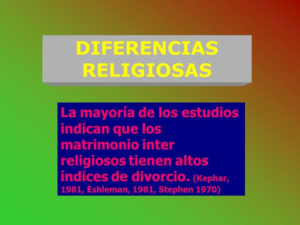 DIFERENCIAS DE EDAD Los estudios muestra que cuánto mayor es la diferencia de edad (más de 5 años), menor la posibilidad de estabilidad matrimonial. (