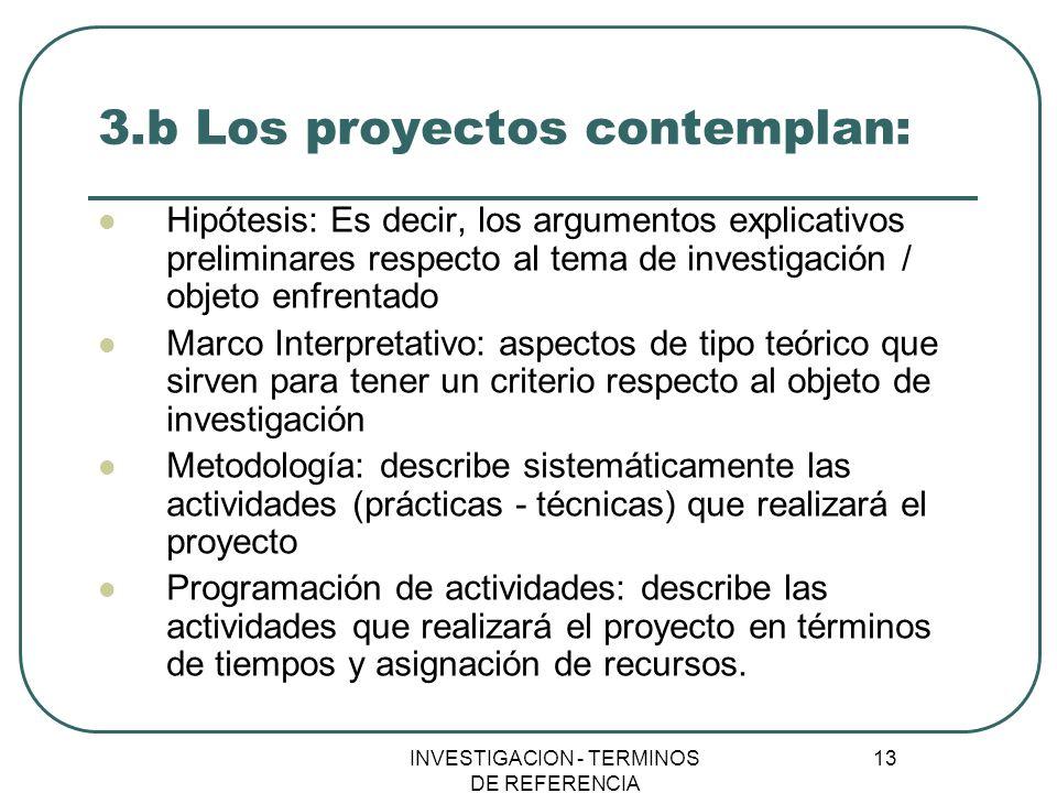 INVESTIGACION - TERMINOS DE REFERENCIA 13 3.b Los proyectos contemplan: Hipótesis: Es decir, los argumentos explicativos preliminares respecto al tema