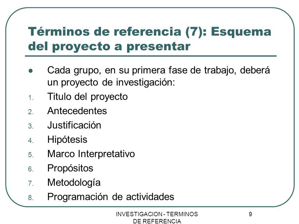 INVESTIGACION - TERMINOS DE REFERENCIA 9 Términos de referencia (7): Esquema del proyecto a presentar Cada grupo, en su primera fase de trabajo, deber
