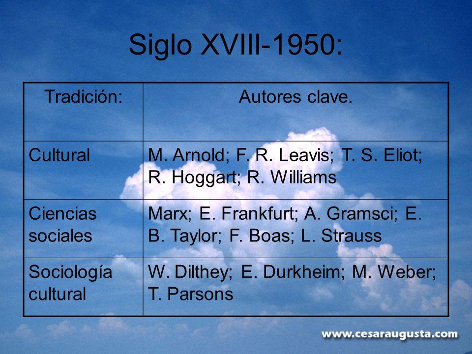 Siglo XVIII-1950: Tradición:Autores clave. CulturalM. Arnold; F. R. Leavis; T. S. Eliot; R. Hoggart; R. Williams Ciencias sociales Marx; E. Frankfurt;