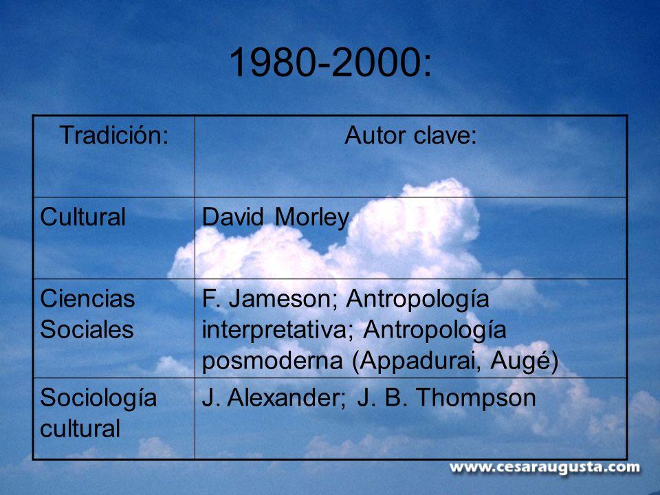 1980-2000: Tradición:Autor clave: CulturalDavid Morley Ciencias Sociales F. Jameson; Antropología interpretativa; Antropología posmoderna (Appadurai,