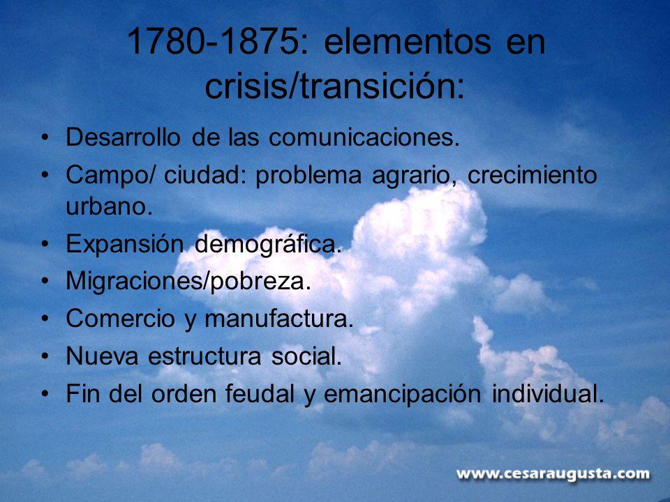 1780-1875: elementos en crisis/transición: Desarrollo de las comunicaciones. Campo/ ciudad: problema agrario, crecimiento urbano. Expansión demográfic