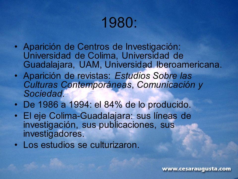 1980: Aparición de Centros de Investigación: Universidad de Colima, Universidad de Guadalajara, UAM, Universidad Iberoamericana. Aparición de revistas