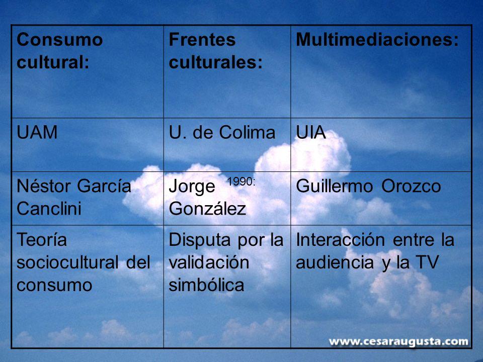 Consumo cultural: Frentes culturales: Multimediaciones: UAMU. de ColimaUIA Néstor García Canclini Jorge González Guillermo Orozco Teoría sociocultural