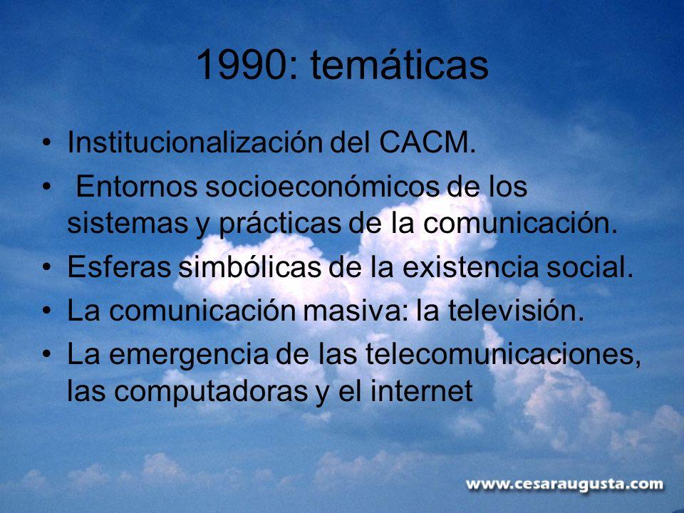 1990: temáticas Institucionalización del CACM. Entornos socioeconómicos de los sistemas y prácticas de la comunicación. Esferas simbólicas de la exist