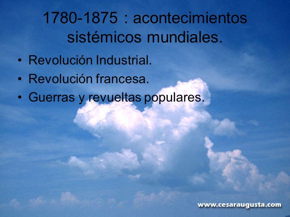 1780-1875 : acontecimientos sistémicos mundiales. Revolución Industrial. Revolución francesa. Guerras y revueltas populares.