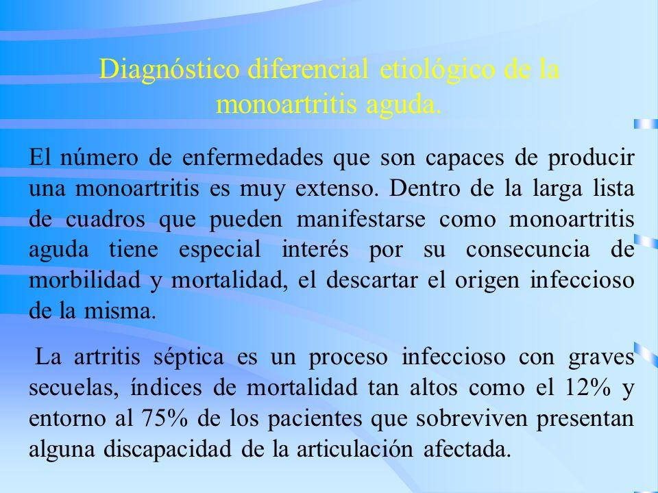 Diagnóstico diferencial etiológico de la monoartritis aguda. El número de enfermedades que son capaces de producir una monoartritis es muy extenso. De