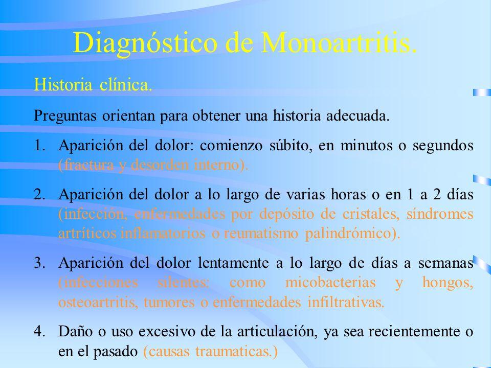 Diagnóstico de Monoartritis. Historia clínica. Preguntas orientan para obtener una historia adecuada. 1.Aparición del dolor: comienzo súbito, en minut