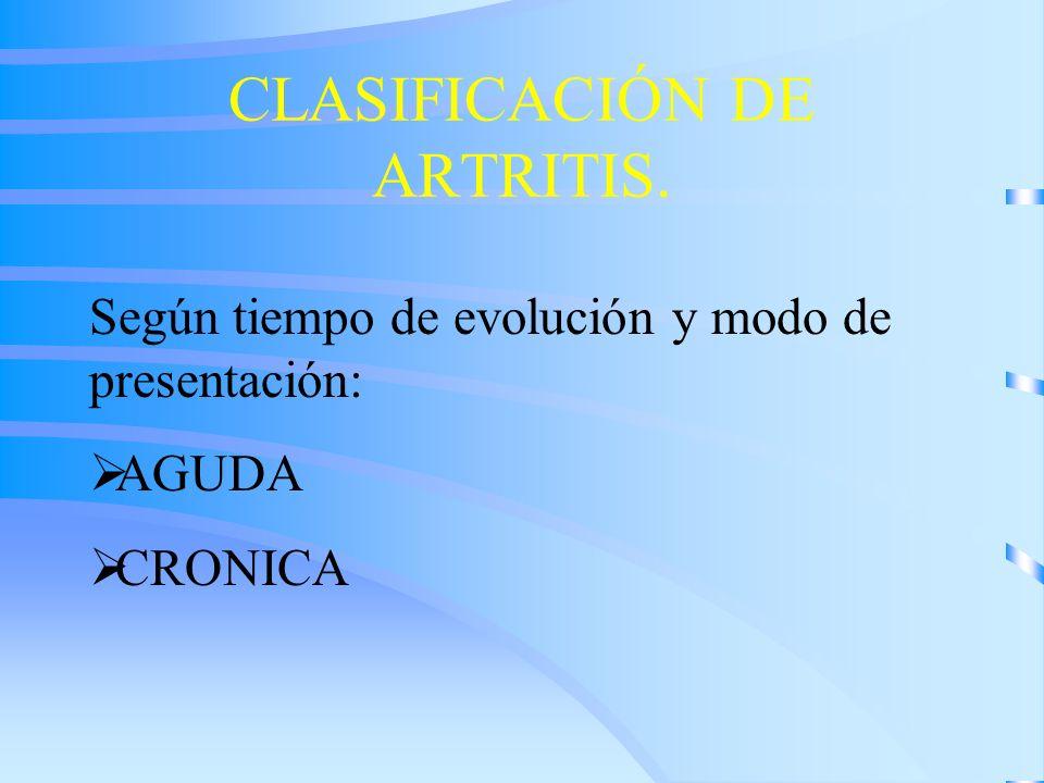 CLASIFICACIÓN DE ARTRITIS. Según tiempo de evolución y modo de presentación: AGUDA CRONICA