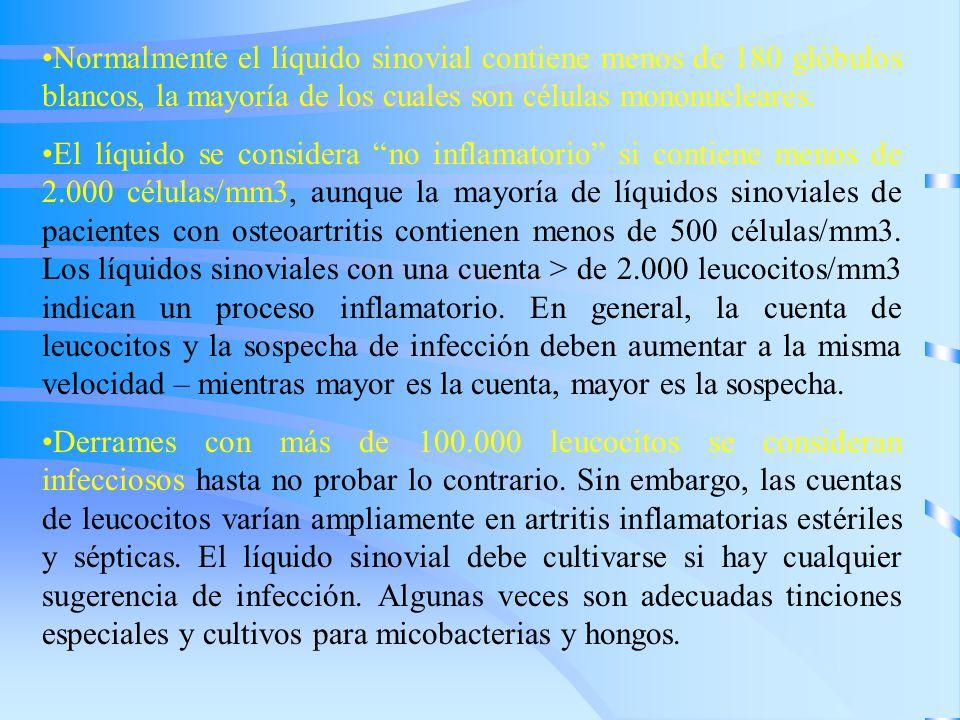 Normalmente el líquido sinovial contiene menos de 180 glóbulos blancos, la mayoría de los cuales son células mononucleares. El líquido se considera no