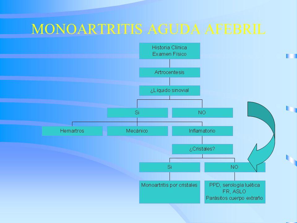 MONOARTRITIS AGUDA AFEBRIL