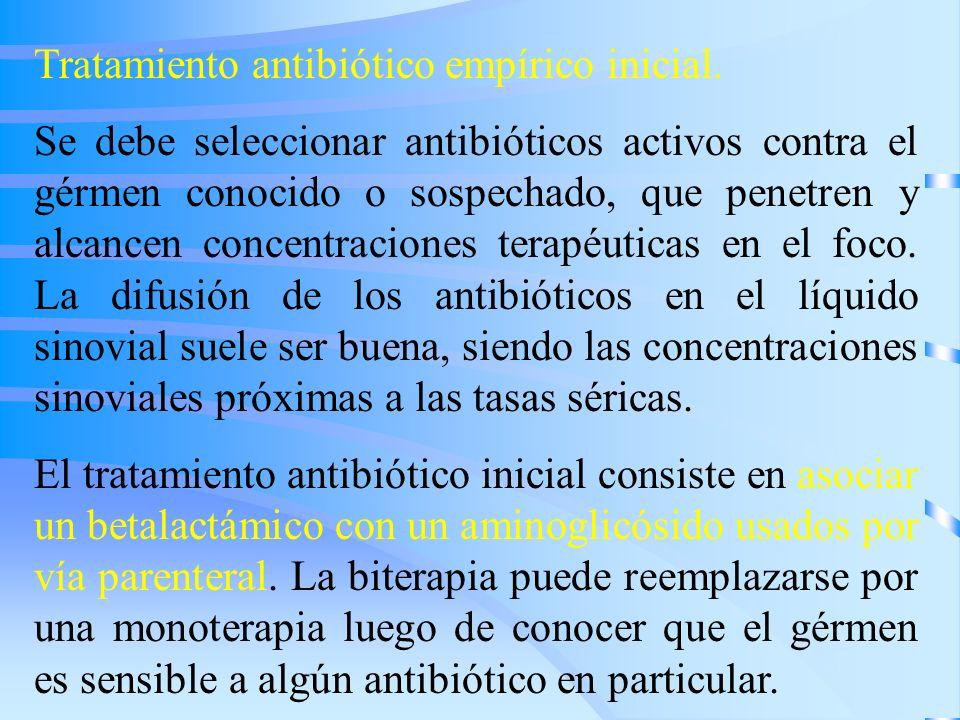 Tratamiento antibiótico empírico inicial. Se debe seleccionar antibióticos activos contra el gérmen conocido o sospechado, que penetren y alcancen con