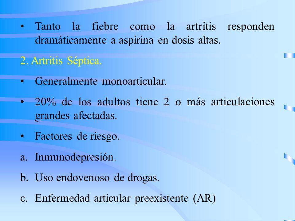 Tanto la fiebre como la artritis responden dramáticamente a aspirina en dosis altas. 2. Artritis Séptica. Generalmente monoarticular. 20% de los adult