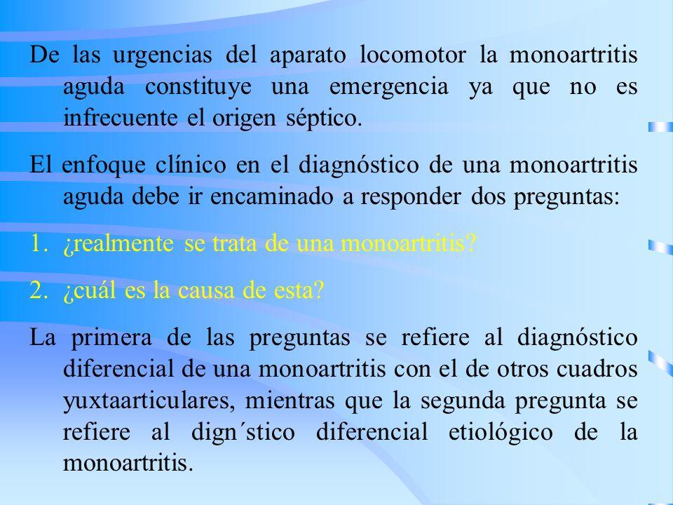 De las urgencias del aparato locomotor la monoartritis aguda constituye una emergencia ya que no es infrecuente el origen séptico. El enfoque clínico