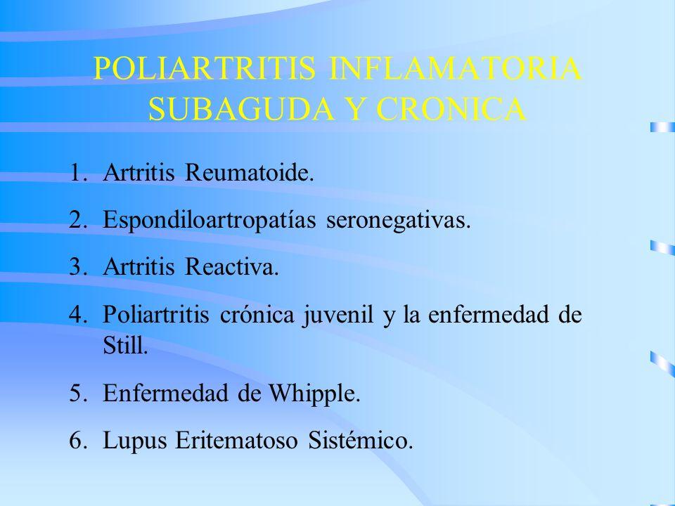 POLIARTRITIS INFLAMATORIA SUBAGUDA Y CRONICA 1.Artritis Reumatoide. 2.Espondiloartropatías seronegativas. 3.Artritis Reactiva. 4.Poliartritis crónica