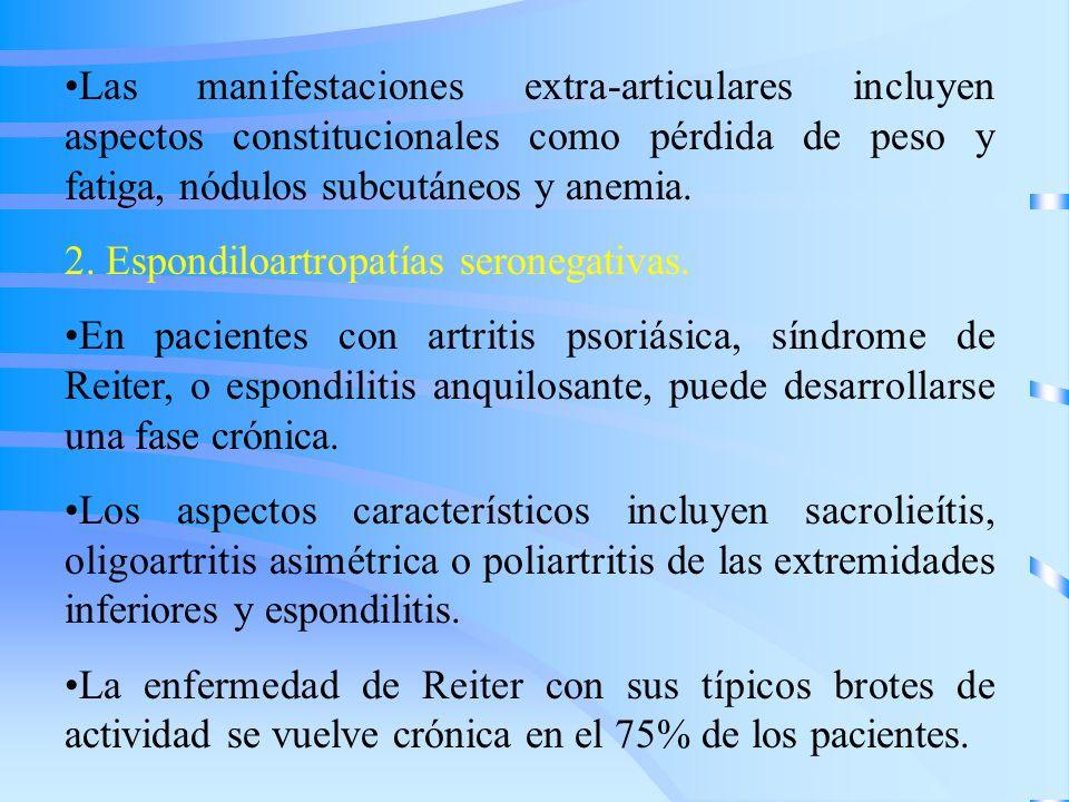 Las manifestaciones extra-articulares incluyen aspectos constitucionales como pérdida de peso y fatiga, nódulos subcutáneos y anemia. 2. Espondiloartr