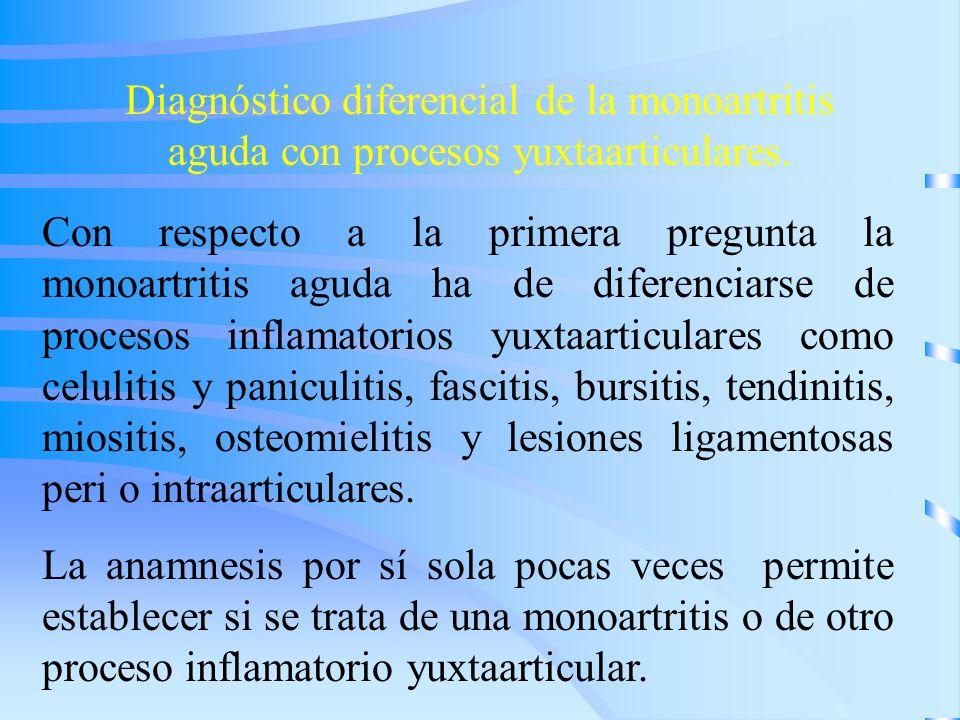 Diagnóstico diferencial de la monoartritis aguda con procesos yuxtaarticulares. Con respecto a la primera pregunta la monoartritis aguda ha de diferen